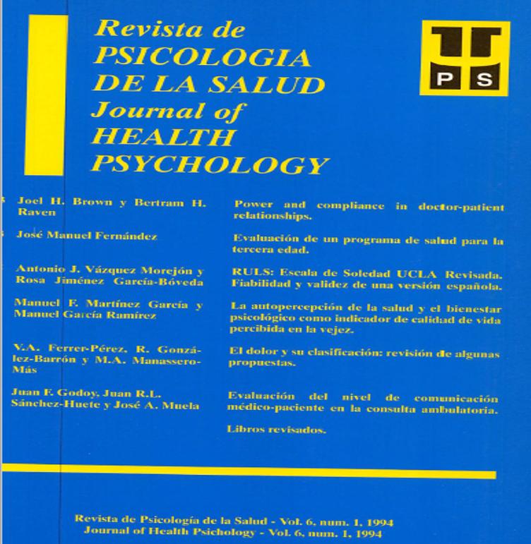 Ver Vol. 6 Núm. 1 (1994): Revista de Psicología de la Salud