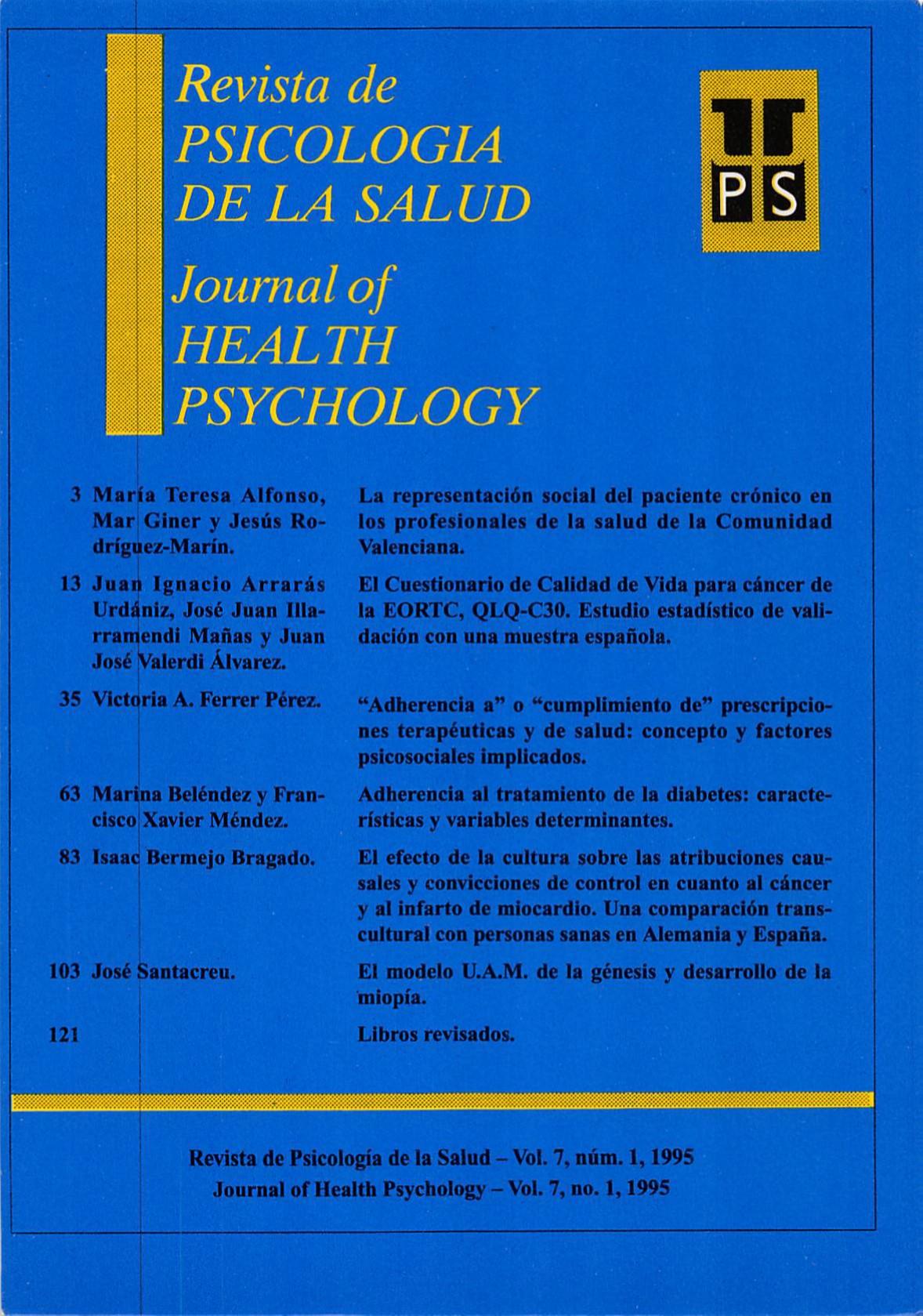 Ver Vol. 7 Núm. 1 (1995): Revista de Psicología de la Salud