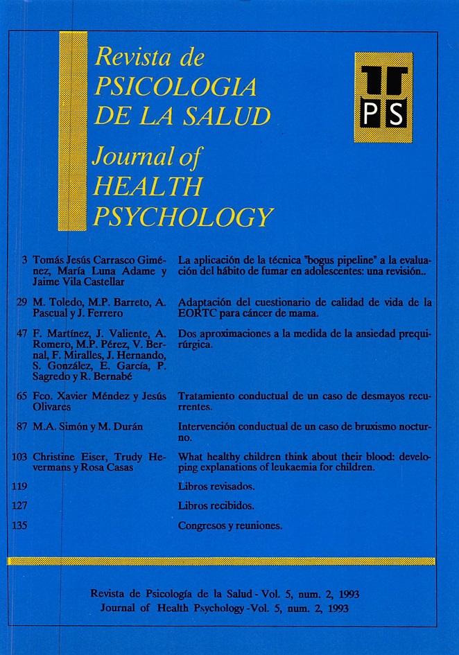 Ver Vol. 5 Núm. 2 (1993): Revista de Psicología de la Salud