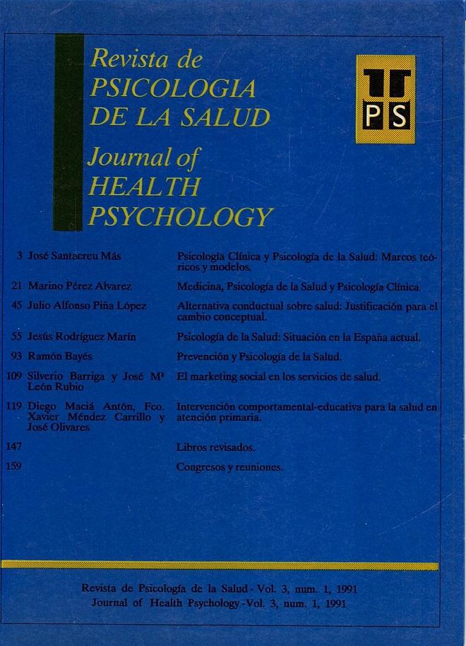 Ver Vol. 3 Núm. 1 (1991): Revista de Psicología de la Salud